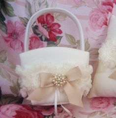 Flower Girl Basket Shabby Chic Vintage Ivory by nanarosedesigns, $25.00--without the ribbon hanging down