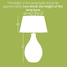 Picking the right size lampshade for your lamp base is all down to simple maths and we have come up with an easy guide to help you find the perfect size lampshade for your lamp base. A Table, Table Lamp, Light Table, Teal Kitchen Decor, Compact Fluorescent Bulbs, House Furniture Design, I Love Lamp, Mason Jar Lighting, Jar Lights