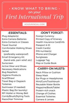 One way to avoid over-packing is to plan. It helps to know what to bring on your first international trip. Grab your free printable packing list today!