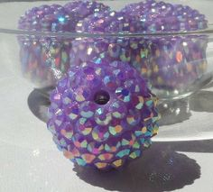 8 Lavender 22mm Resin Rhinestone Ball Chunky by SofiasCottage, $3.55