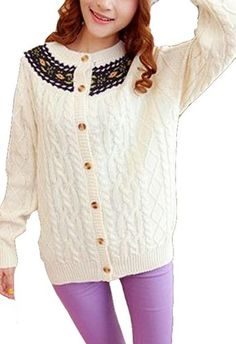 $56.10 nice Vangood Women's Handmade Embroidery Single Breasted Long Sleeve Sweater