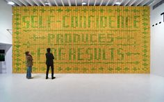 Banana wall by Stefan Sagmeister. Over the course of a month, the bananas browned and filled the gallery with a sweet smell.