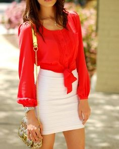 white pencil skirt with red blouse tied in front & golden accents  red hot for summer