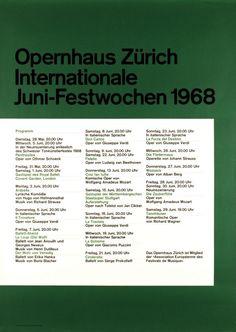 Opernhaus Zürich Internationale Juni-Festwochen 1968