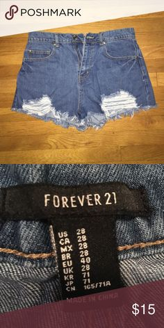 High Waisted Shorts Like new only worn a few times, just no longer fit Super cute and perfect for any summer outfit! They have the fun ripped distressed look which makes them even better! Forever 21 Shorts