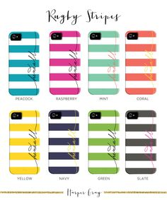 Personalized iPhone 5 Case // Rugby Stripes. $48.00, via Etsy. Sooo many options!!