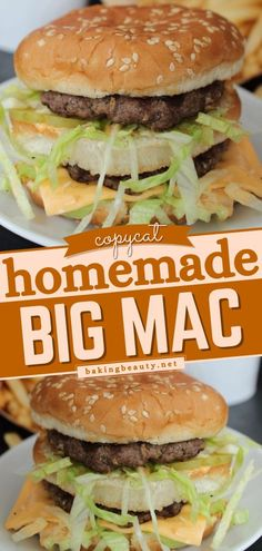 Make this classic fast food favorite at home - Big Mac! This Big Mac recipe might be more delicious than the original one 'cause it's homemade! This easy main dish is the perfect dinner idea for… Ground Beef Recipes, Pork Recipes, Healthy Recipes, Healthy Meals, Baking Recipes, Easy Main Dish Recipes, Easy Dinner Recipes, Simple Recipes, Thanksgiving Main Dishes