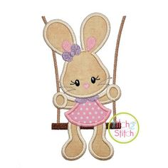 "Bunny in the Swing Girl Applique: & Shown with our ""Happy Giraffe"" Font NOT Machine Embroidery Applique, Applique Patterns, Applique Quilts, Applique Designs, Embroidery Designs, Hand Embroidery, Embroidery Monogram Fonts, Animal Quilts, Baby Scrapbook"