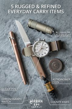 Get rugged and refined products that will become integral parts of your everyday carry. Urban EDC Supply took the concept of EDC, and gave it an urban twist with aesthetically-pleasing items like the James Brand County Knife or Timex Weekender Chronograph Watch. Find the gear that speaks to you at urbandedcsupply.com