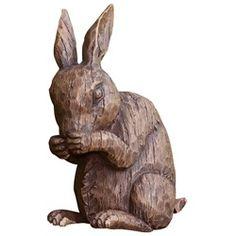 Nature's Story Teller Faux Wood Rabbit Statues