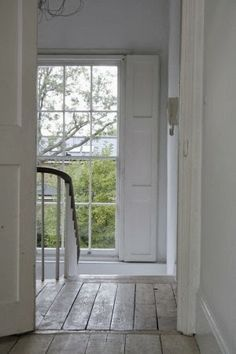 White interior shutters for back staircase? Georgian Interiors, Georgian Homes, Interior Shutters, Interior And Exterior, Rustic Shutters, Exterior Paint, Luxury Interior, Exterior Design, White Rooms