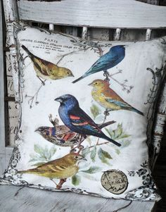 Vintage Bird Pillow