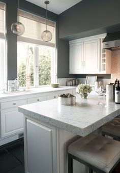 Clean grey and white kitchen - perfect for tight quarters