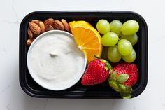 What's in this snack: ¾ cup plain 1% Greek yogurt mixed with 1 tsp. honey and ½ tsp. cinnamon, ½ cup strawberries, ½ cup nectarine or orange wedges, ½ cup green grapes, 12 raw almonds,