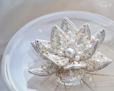 Flower jewelry Lotus Flower brooch Lotus by PurePearlBoutique