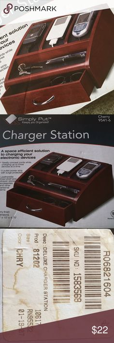 SIMPLY PUT CHERRY CHARGER STATION VALET ORGANIZER 🌺..BRAND NEW IN BOX..A SPACE EFFICIENT SOLUTION TO CHARGING YOUR PHONES AND ORGANIZING YOUR GADGETS(cell phones, MP3 players, digital cameras, etc...).  A GREAT GIFT IDEA !!!   This Organizer has a 5 outlet concealed power strip with surge protection.  It conceals chords while hiding unsightly adapters and the frustration of untangling a web of wires.  Has leatherette lined shelves and drawer for keys, wallet, and other items.  CHERRY…