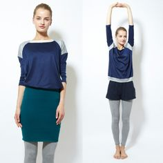 カラーブロック七分袖プルオーバー - ヨガウェア Yoga and Relax wear Julier ヨガ&リラックス ウェア ジュリエ