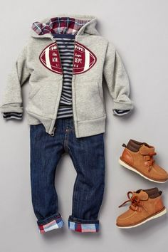 Toddler boys fashion   Kids' fashion   Football sweatshirt   Striped top   Jeans   Shoes   The Children's Place