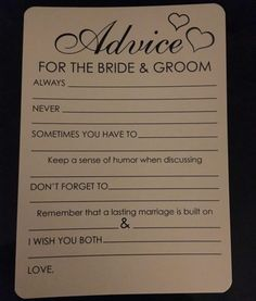 Advice for the Bride and Groom Cards - Hochzeit - mariage Wedding Planning Tips, Wedding Tips, Diy Wedding, Wedding Venues, Dream Wedding, Budget Wedding, Wedding Koozies, Wedding Advice Cards, Wedding Invitations