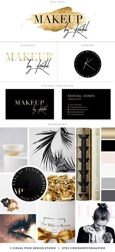 PREMIUM Branding Package - Business Card Design - Gold Foil Effect - Makeup Artist Logo - Potography - Boutique Logo - Moodboard Watermark This premade Branding Package Logo Design Kit is a perfect so (Beauty Face Logo) Fashion Business Cards, Makeup Artist Business Cards, Black Business Card, Business Card Design, Business Fonts, Business Branding, Makeup Artist Logo, Best Makeup Artist, Makeup Artists