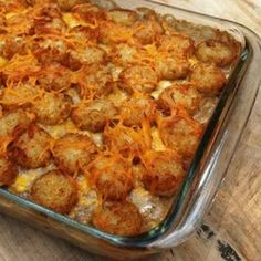 Cowboy Casserole... My mom used to make this all the time! I miss it!! The tator tots on top are the best part!