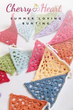 Cherry Heart: Summer Lace Bunting Crochet Pattern by Sandra Paul. Diy Tricot Crochet, Crochet Motifs, Crochet Squares, Love Crochet, Crochet Gifts, Crochet Flowers, Crochet Patterns, Crochet Summer, Granny Squares