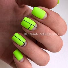 Neon Nail Art With Stripes ❤ Fantastic Matte Acrylic Nails To Give A Thought To ❤ See more ideas on … Neon Nail Art, Neon Nails, Gold Nails, Pink Nails, Neon Nail Designs, Acrylic Nail Designs, Trendy Nails, Cute Nails, Lime Green Nails