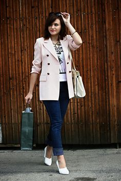 Discover this look wearing Light Pink Vintage Blazers, White H&M Shoes - Pink by Chaba styled for Casual, Shopping in the Spring H&m Shoes, Fashion Outfits, Womens Fashion, Vintage Pink, Spring Outfits, Dress Up, Style Inspiration, Stylish, My Style