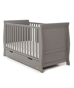 Obaby Stamford Classic Sleigh Cot Bed - Taupe Grey with White . Grey Bedroom Furniture, Nursery Furniture Sets, Grey Cot, Sleigh Cot Bed, Junior Bed, Cot Bedding, Childrens Room Decor, Kids Room Design, Nursery Room
