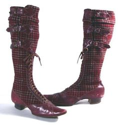 1890 bicycling boots. THAT IS SO AWESOME. PLAID?! I've never seen that before!!
