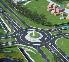 "This Dutch-designed ""turbo roundabout"" incorporates a bike lane underpass to ensure cyclist safety."