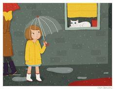"Rainy day by Julia Bereciartu  Stretched Canvas SMALL (17"" x 13"")  $85.00"