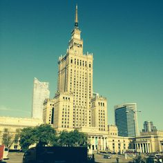 Palace Of Culture in Warsaw, beautiful cloudless sunny day