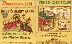 Knott's Berry Farm souvenir #matchbook To order your business' own branded #MatchBoxes GoTo www.GetMatches.com or CALL 800.6055.7331 to get the painless process started Today!