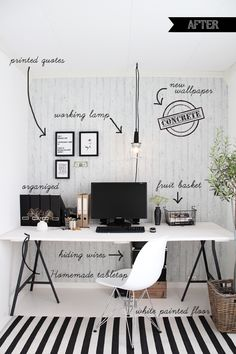 Black and white simple home office workspace interior design idea Home Office Space, Home Office Design, Home Office Decor, House Design, Home Decor, Office Designs, Office Ideas, Desk Space, Office Spaces