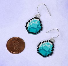 Minecraft Diamond Earrings-love these!