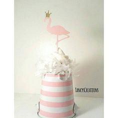 12 Pink flamingo cupcake toppers with gold glitter crown. Birthday, Baby shower or Bridal Shower