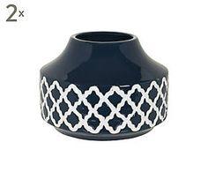 2 Vases GREECE terre cuite, bleu foncé - H15
