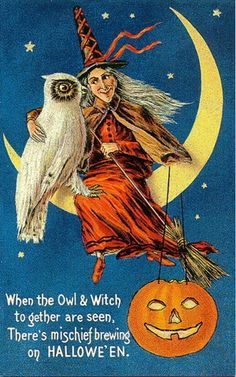A Nostalgic Halloween: Vintage Postcard - Owl and Witch