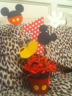 Mickey Mouse birthday party centerpiece- customized. $12.00, via Etsy.