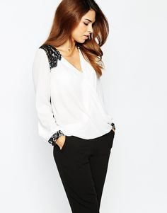 Michelle Keegan Loves Lipsy Wrap Front Blouse With Lace Shoulder