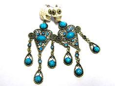 Sugar Skull Earrings Chandelier Dangles Day Of by sweetie2sweetie, $14.99