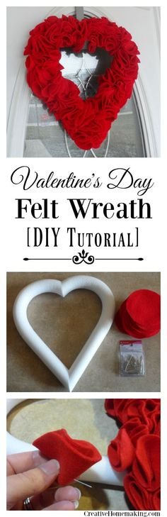Easy felt wreath or ornament wreath for Valentine's Day.