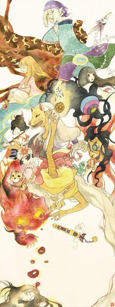 "From Japanese Animation ""Mononoke"" Watercolor Illustration. Original size is here : [link] The world of Mononoke Me Anime, Anime Manga, Anime Art, Mononoke Anime, Kitsune Mask, Hotarubi No Mori, Samurai Champloo, Deadman Wonderland, Ghibli Movies"