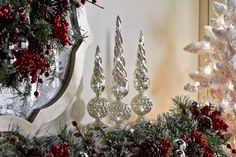 Mercury Glass Finial set of 3 Illuminate and have a timer function.  So Elegant! H205287 http://qvc.co/-Shop-ValerieParrHill