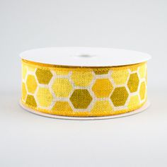 """1.5"""" Honeycomb Ribbon: Golden Yellows (10 Yards) Deco Mesh Ribbon, Wired Ribbon, Fabric Ribbon, Halloween Deco Mesh, Fall Halloween, Craft Outlet, Shades Of Gold, Bee Theme, Golden Yellow"""