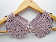 Crochet collar lilac lace lavender cotton handmade by wincsike, $39.00