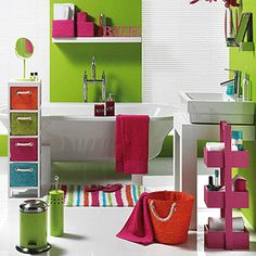 1000 images about bright bathrooms on pinterest bright for Pink and orange bathroom ideas