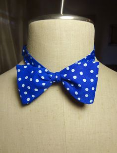 Self-Tie Bowtie Royal blue with white polka by BowMeAwayByAlexandra