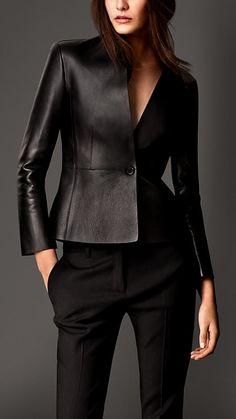Jaqueta de alfaiataria em couro napa laminado | Burberry